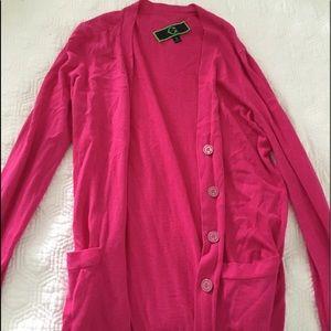 c.wonder long pink cardigan